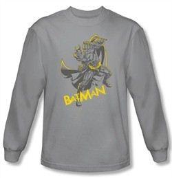 Batman Shirt Dark Knight Rises Left Hook Silver Long Sleeve Shirt