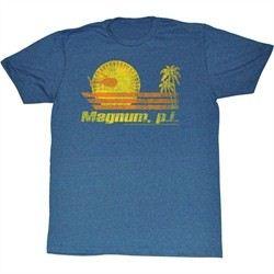 Magnum PI Shirt Into The Sun Adult Blue Heather Tee T-Shirt