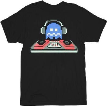 Pac-man Pixel Blue DJ Ghost Black Adult T-shirt