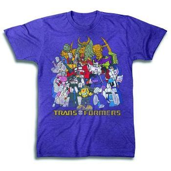 Transformers Family Portrait Neon Purple Heather T-Shirt