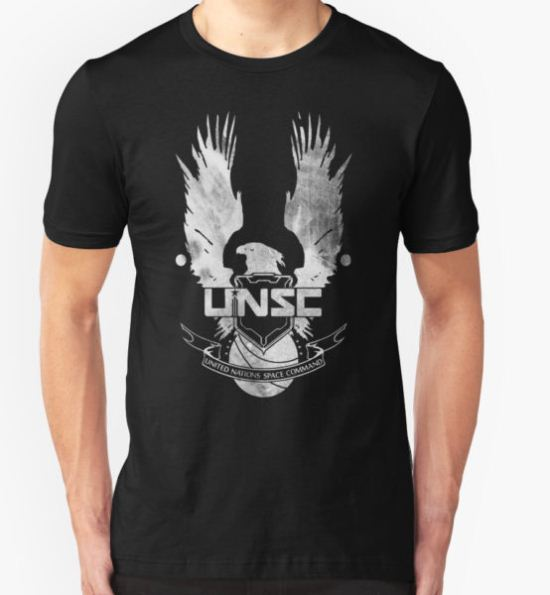 Halo UNSC Faded Watercolor Print White on Black T-Shirt by TumblrVerse T-Shirt
