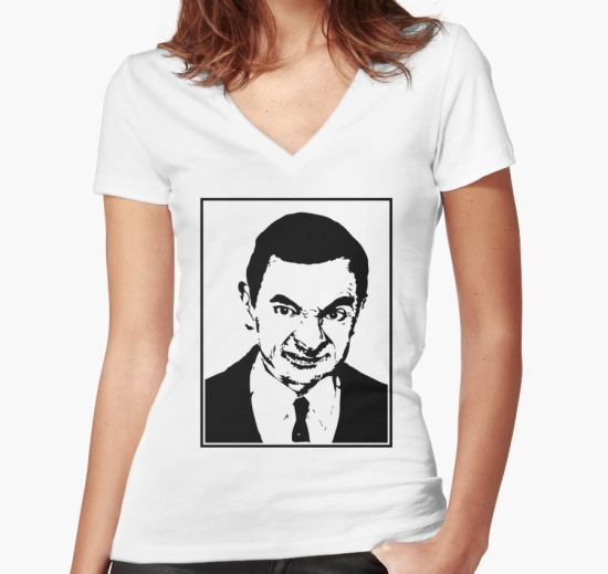 Mr Bean Women's Fitted V-Neck T-Shirt by equilogy T-Shirt