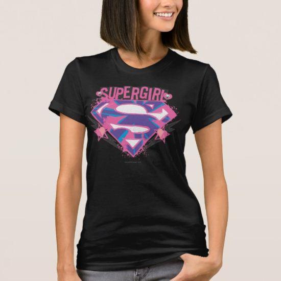 Supergirl Pink and Purple Grunge Logo T-Shirt