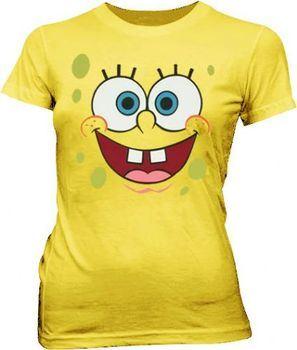 SpongeBob SquarePants Basic Bob Face Yellow Juniors T-shirt