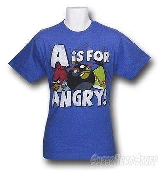 Angry Birds A is for Anger Heather Blue T-Shirt