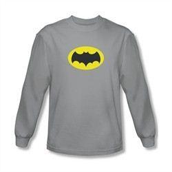 Classic Batman Shirt Logo Long Sleeve Silver Tee T-Shirt