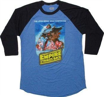 Star Wars Empire Strikes Back Poster 3/4 Raglan Sleeve T-Shirt Sheer