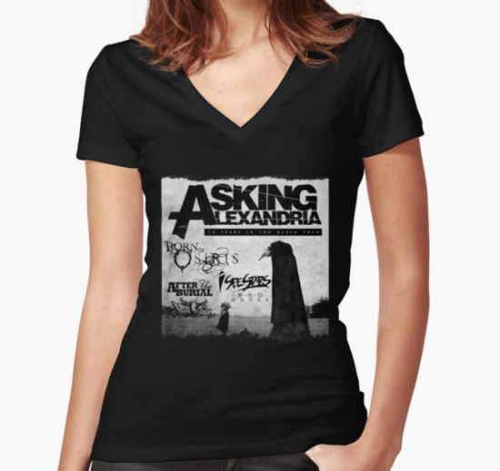 Asking Alexandria 10 years in black Women's Fitted V-Neck T-Shirt by artbyyou T-Shirt