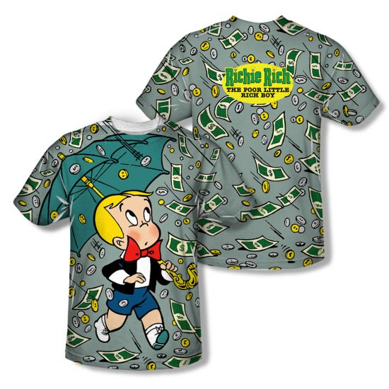 Richie Rich Shirt Raining Money Sublimation Shirt Front/Back Print