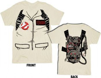 Ghostbusters Full Venkman's Costume with Backpack Print Sand Adult T-shirt Tee