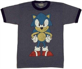 Sega Sonic the Hedgehog Front and Back View Ringer T-Shirt