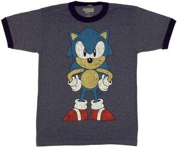 Sega Sonic the Hedgehog Front and Back View Ringer T-Shirt