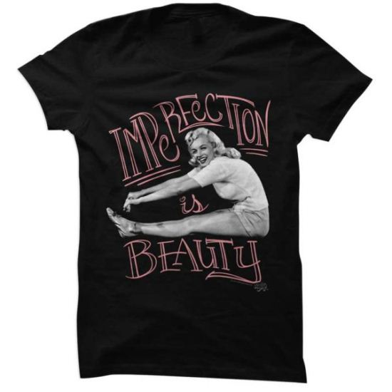 Marilyn Monroe Shirt Juniors Imperfection Is Beauty Black T-Shirt