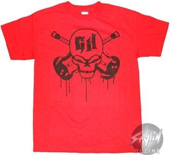 Guitar Hero Skull Logo Red T-Shirt