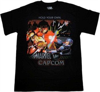 Marvel vs Capcom Iron Man vs Mega Man Blast Hold Your Own T-Shirt