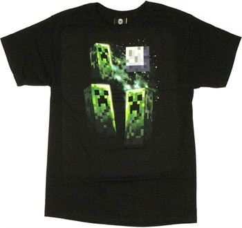 Minecraft Three Creepers Howling at the Moon T-Shirt
