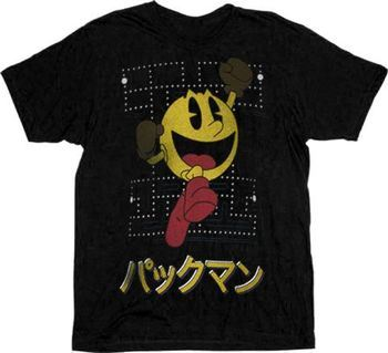 Pac-Man Japanese Gameboard Black Adult T-shirt