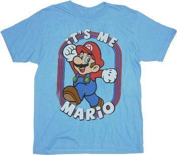 Nintendo Super Mario Bros It's Me Mario Sky Blue Adult T-Shirt