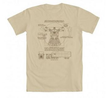 Transformers Optimus Prime As Vitruvian Adult Cream T-Shirt