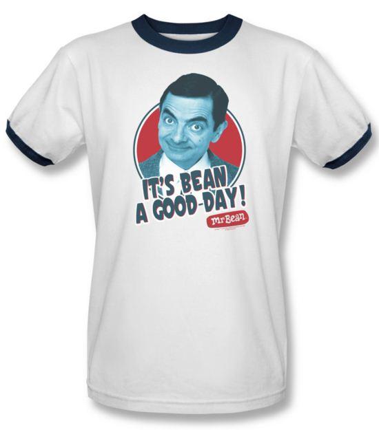 Mr. Bean Ringer Shirt Good Day Adult White Navy Tee T-Shirt