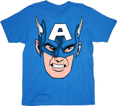 Captain America Cappy Face Blue Adult T-Shirt