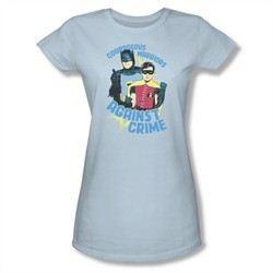 Classic Batman Shirt Juniors Against Crime Light Blue T-Shirt