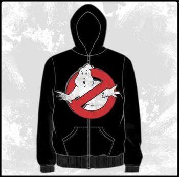 Ghostbusters Distressed Logo Black Adult Zipper Hoodie Hooded Sweatshirt