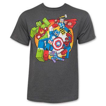 Avengers Grey Men's Minecraft Tee Shirt