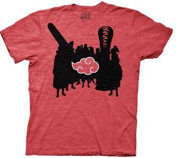 Naruto Akatsuki Silhouettes & Cloud Adult Heather Red T-Shirt