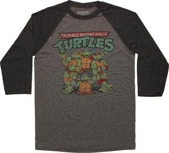 Teenage Mutant Ninja Turtles Heroes Logo 3/4 Raglan T-Shirt Sheer