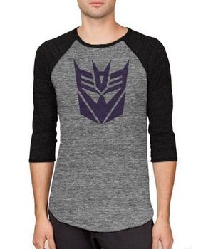 Transformers Decepticon Logo Adult Arctic Gray and Black Baseball Raglan T-shirt