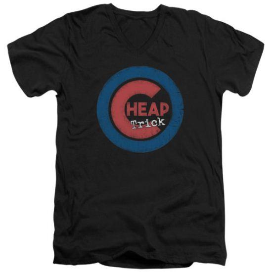 Cheap Trick Slim Fit V-Neck Shirt Cub 4 Black T-Shirt