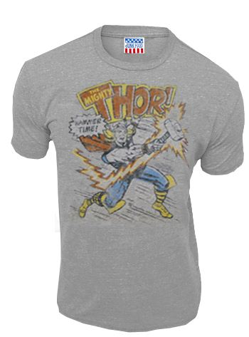 Junk Food Thor Hammer Time Heather Gray Mens T-shirt