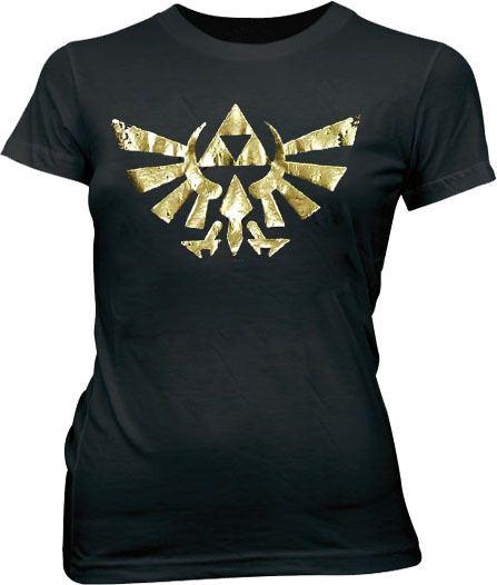 Nintendo Legend of Zelda Gold Foil Triforce Logo Juniors Black T-shirt