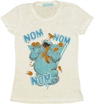 Sesame Street Cookie Monster Nom Nom Burnout Baby Doll Tee by MIGHTY FINE
