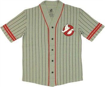 Ghostbusters Logo Pinstriped Baseball Jersey