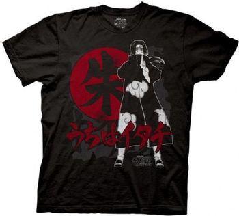 Naruto Anime Shippuden Sasuke Itachi Symbols Adult Black T-shirt