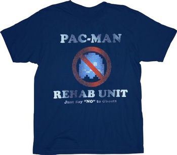 Pac-Man Rehab Unit Say No To Ghosts Navy T-shirt