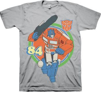 Transformers Optimus Prime Retro 84 Adult Silver T-Shirt