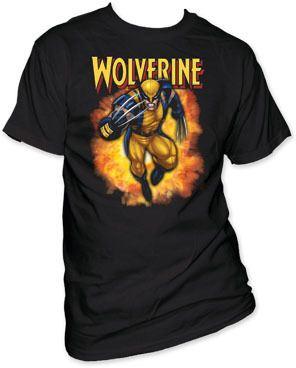 X-Men Wolverine Fire Cloud Black Adult T-shirt