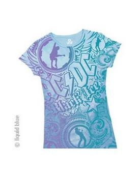 AC/DC Black Ice All Over Blue Print Women's T-Shirt
