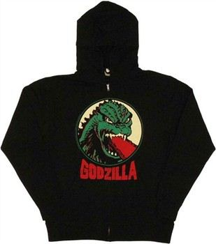 Godzilla Atomic Breath Face Full Zipper Hooded Sweatshirt