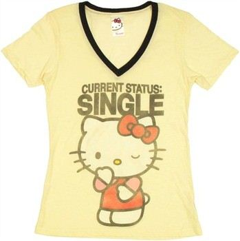 Hello Kitty Current Status Single Baby Doll Tee by Mighty Fine