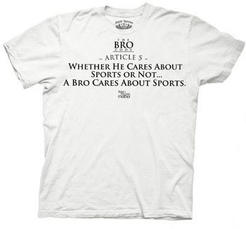 How I Met Your Mother Bro Code Article 5 Sports White Adult T-shirt