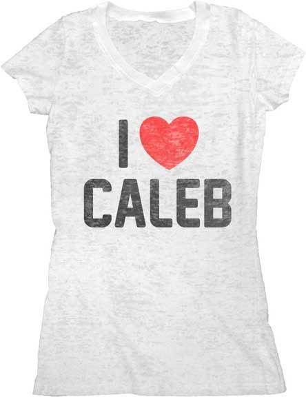 Pretty Little Liars I Love (Heart) Caleb Juniors White V-Neck Burnout T-shirt