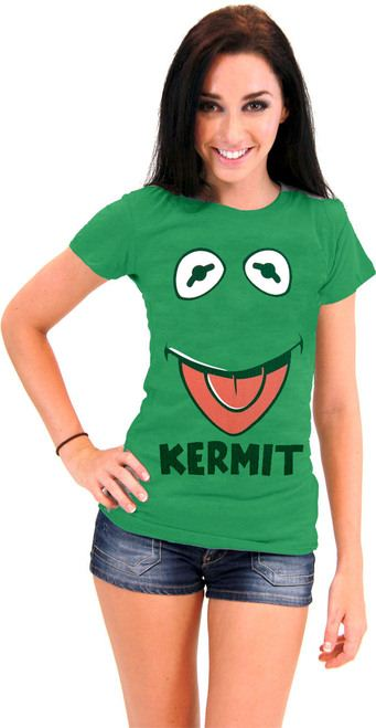 The Muppets Kermit the Frog Face Juniors Green T-Shirt