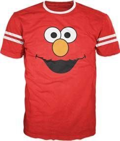 Sesame Street Elmo Face With Striped Seeves Red T-shirt