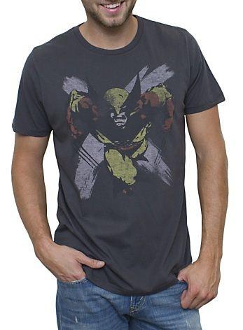 Adult Men/'s Marvel Comics X-Men Wolverine Hero Suit Black Costume T-shirt Tee
