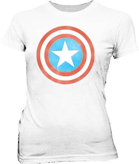 Captain America Distressed Icon White Juniors T-shirt