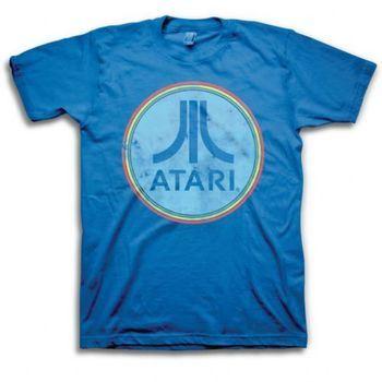 ATARI CLASSIC LOGO White on Royal Blue Adult Heather T-Shirt All Sizes